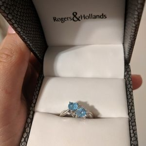 Rogers and Hollands Sapphire Ring with 2 Hearts